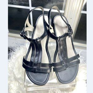 ECCO Womens Black Leather Strappy Sandals 7-7.5